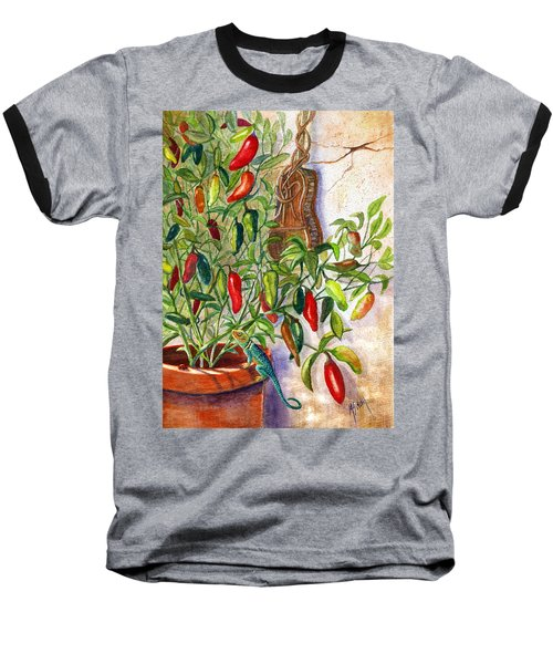 Baseball T-Shirt featuring the painting Hot Sauce On The Vine by Marilyn Smith