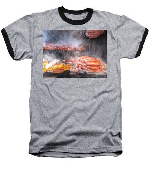 Hot Sausage Hot Dog Baseball T-Shirt by Yury Bashkin