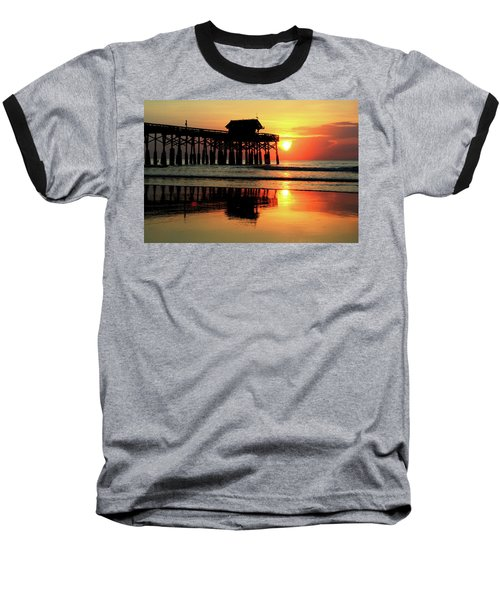 Hot Sunrise Over Cocoa Beach Pier  Baseball T-Shirt