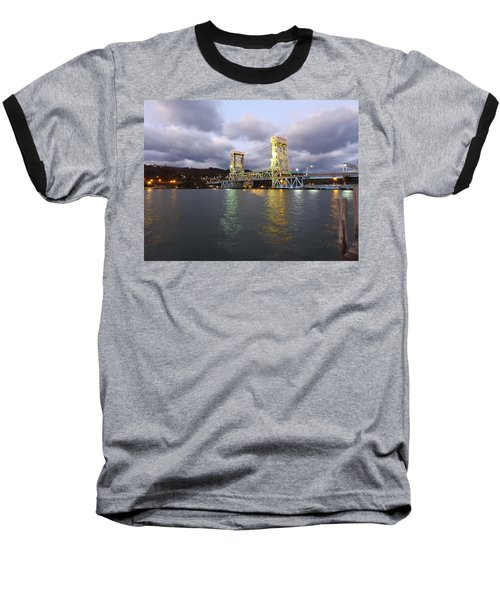 Houghton - Hancock Bridge Baseball T-Shirt by Janice Adomeit