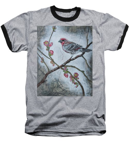 Baseball T-Shirt featuring the mixed media House Finch by Sheri Howe