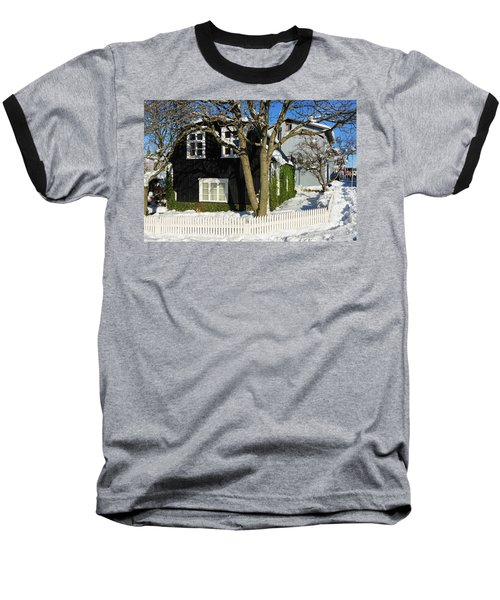Baseball T-Shirt featuring the photograph House In Reykjavik Iceland In Winter by Matthias Hauser