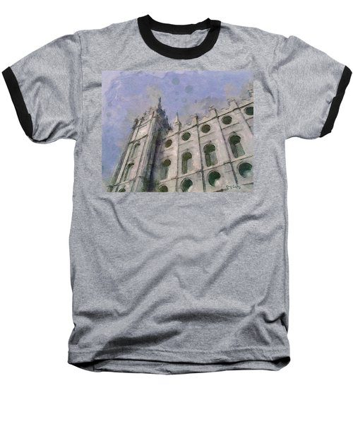 Baseball T-Shirt featuring the painting House Of Faith by Greg Collins