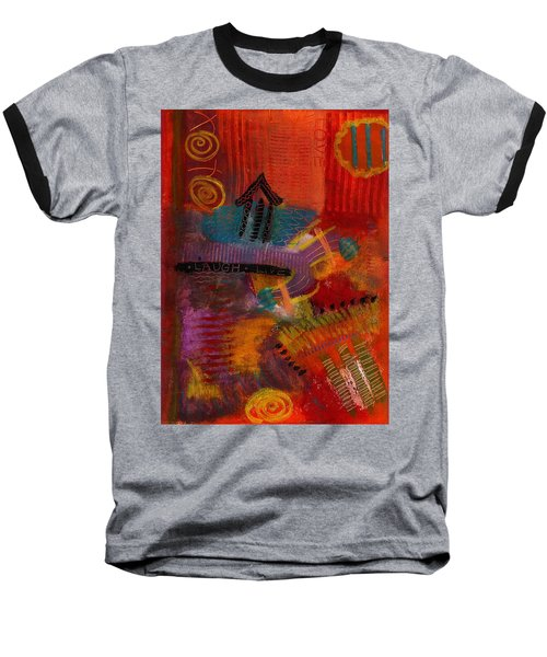 Baseball T-Shirt featuring the painting House Of Laughter by Angela L Walker