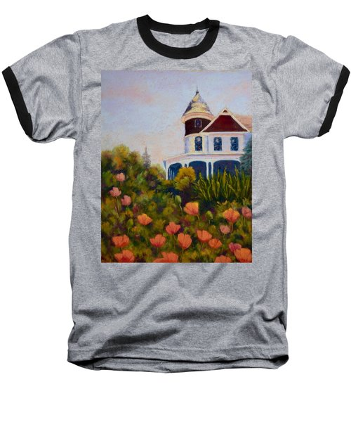 Baseball T-Shirt featuring the painting House On The Hill by Nancy Jolley
