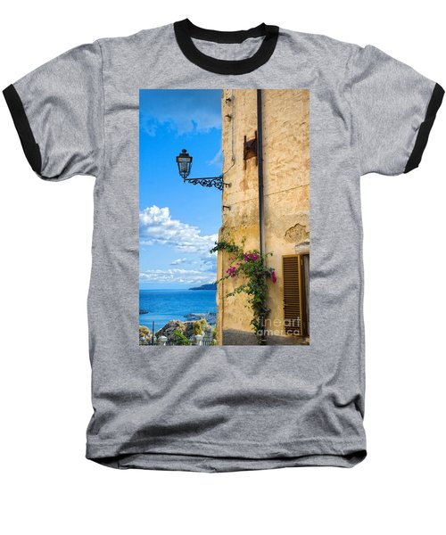 House With Bougainvillea Street Lamp And Distant Sea Baseball T-Shirt