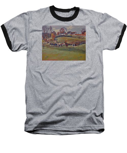 Baseball T-Shirt featuring the painting Houses And Cows In Schweiberg by Nop Briex