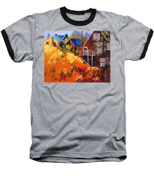 Baseball T-Shirt featuring the painting Houses On The Hill by Rae Andrews