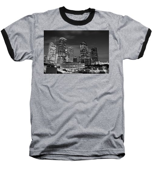 Houston By Night In Black And White Baseball T-Shirt