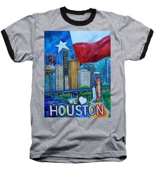 Houston Montage Baseball T-Shirt by Patti Schermerhorn