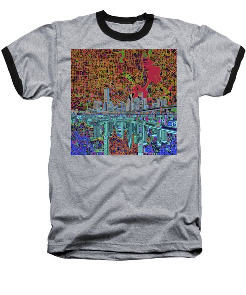 Houston Skyline Abstract 3 Baseball T-Shirt