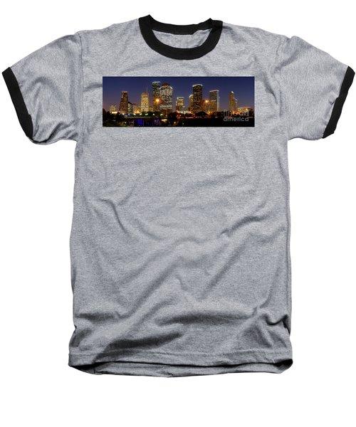 Houston Skyline At Night Baseball T-Shirt