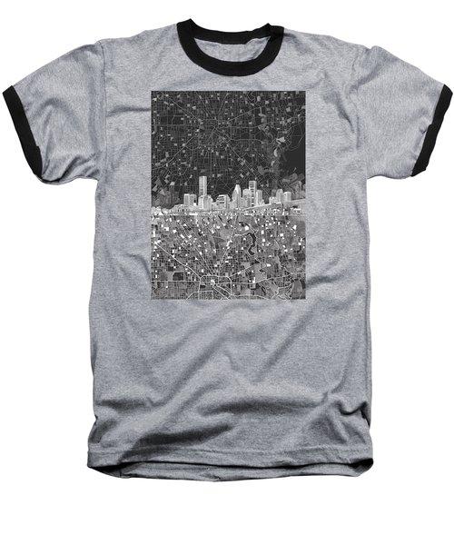Houston Skyline Map Black And White Baseball T-Shirt