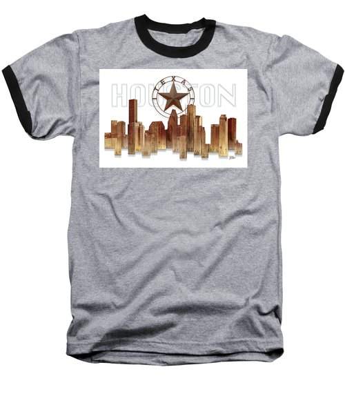 Baseball T-Shirt featuring the painting Houston Texas Skyline by Doug Kreuger