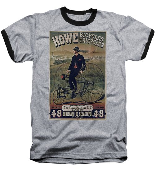 Howe Bicycles Tricycles Vintage Cycle Poster Baseball T-Shirt
