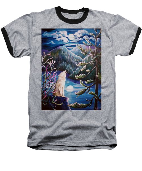 Baseball T-Shirt featuring the painting Howlin' The Blues by Renate Nadi Wesley