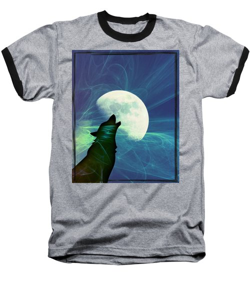 Baseball T-Shirt featuring the photograph Howling Moon by Amanda Eberly-Kudamik