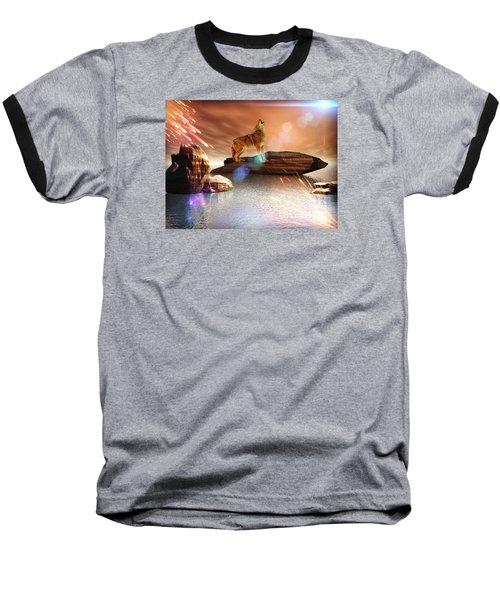 Howling Wolf Tropical Baseball T-Shirt