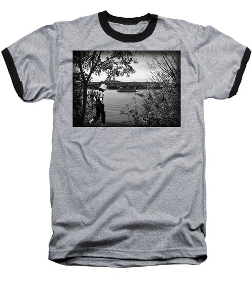 Huck Finn Type Walking On River  Baseball T-Shirt