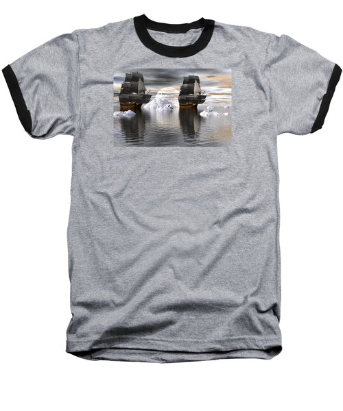 Baseball T-Shirt featuring the digital art Hudson Bay Ships by Claude McCoy