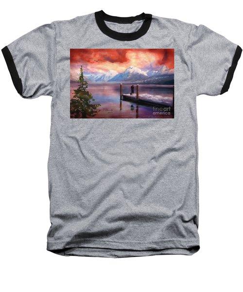 Hudson Bay Winter Fishing Baseball T-Shirt by Judy Filarecki
