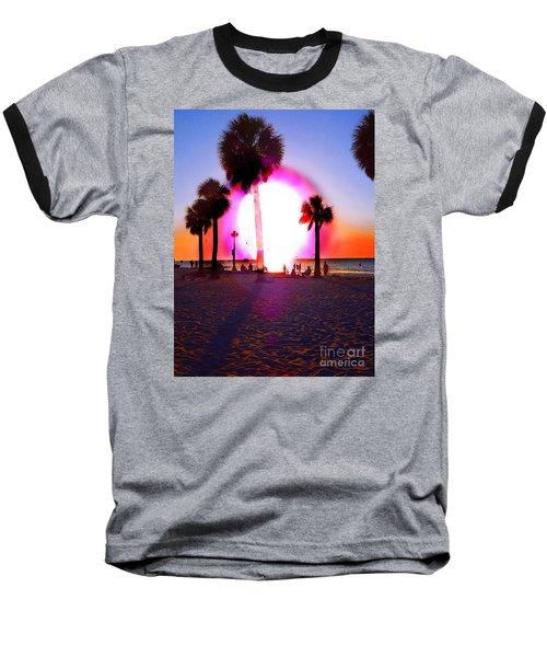 Huge Sun Pine Island Sunset  Baseball T-Shirt