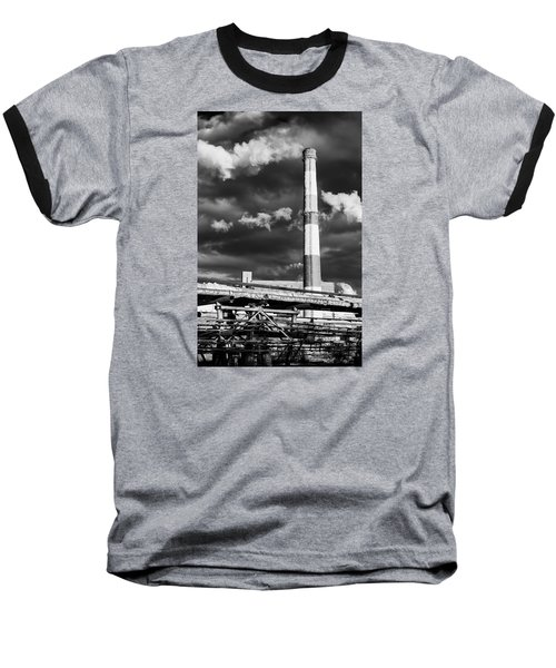 Huge Industrial Chimney And Smoke In Black And White Baseball T-Shirt by John Williams