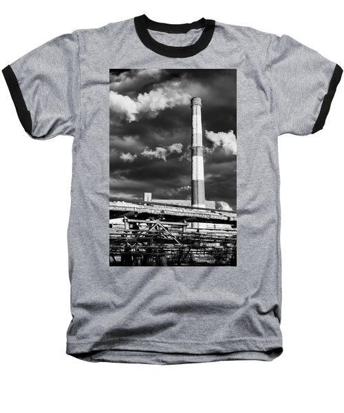 Huge Industrial Chimney And Smoke In Black And White Baseball T-Shirt