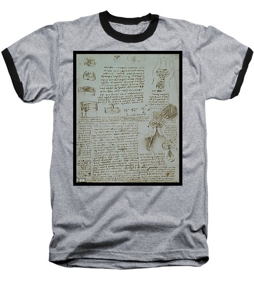 Baseball T-Shirt featuring the painting Human Study Notes by James Christopher Hill