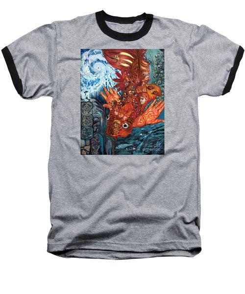 Humanity Fish Baseball T-Shirt by Emily McLaughlin