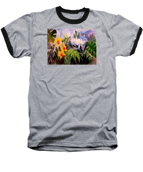 Hummers And Orchids Baseball T-Shirt