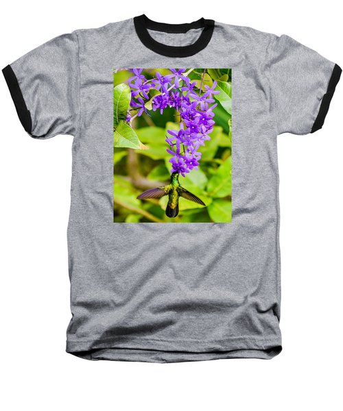 Humming Bird Flowers Baseball T-Shirt