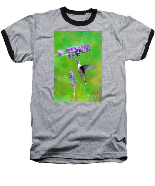 Baseball T-Shirt featuring the photograph Humming Bird Visit by Lila Fisher-Wenzel