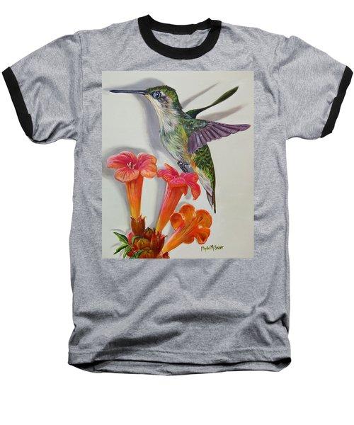 Hummingbird And A Trumpet Vine Baseball T-Shirt by Phyllis Beiser