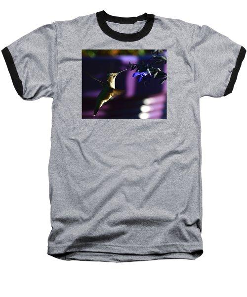 Hummingbird And Blue Flower Baseball T-Shirt