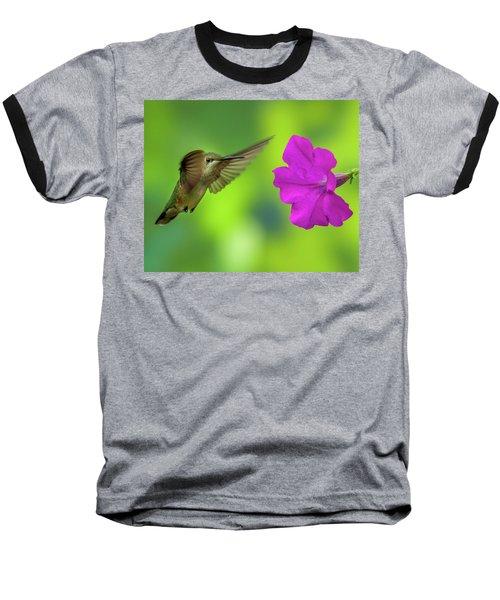 Hummingbird And Flower Baseball T-Shirt