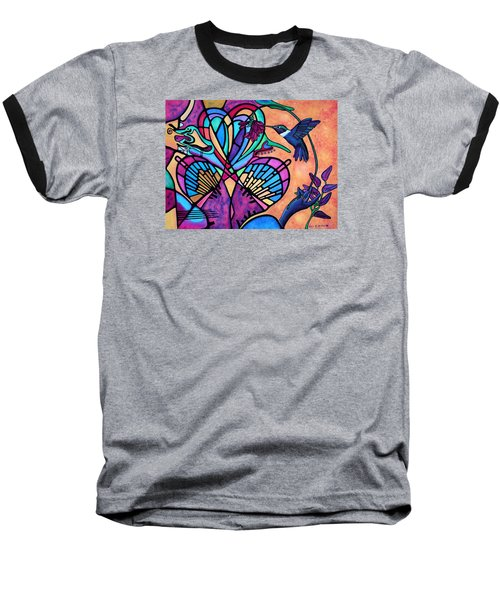 Hummingbird And Stained Glass Hearts Baseball T-Shirt
