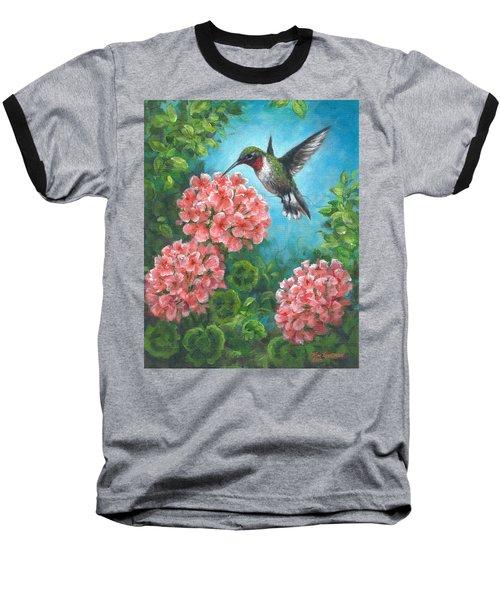 Baseball T-Shirt featuring the painting Hummingbird Heaven by Kim Lockman