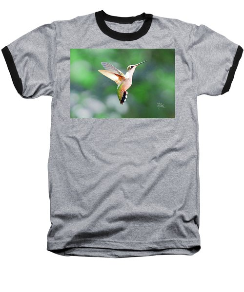 Baseball T-Shirt featuring the photograph Hummingbird Hovering by Meta Gatschenberger