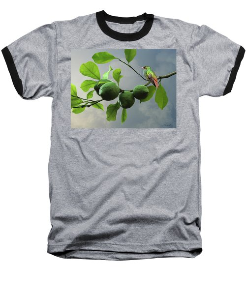 Hummingbird In Lime Tree Baseball T-Shirt