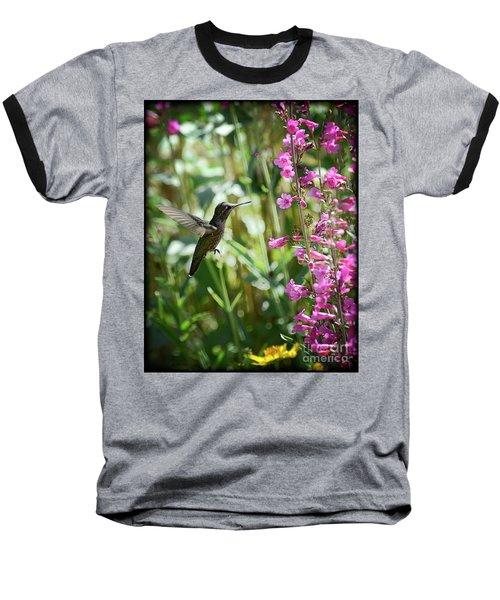 Hummingbird On Perry's Penstemon Baseball T-Shirt by Saija  Lehtonen
