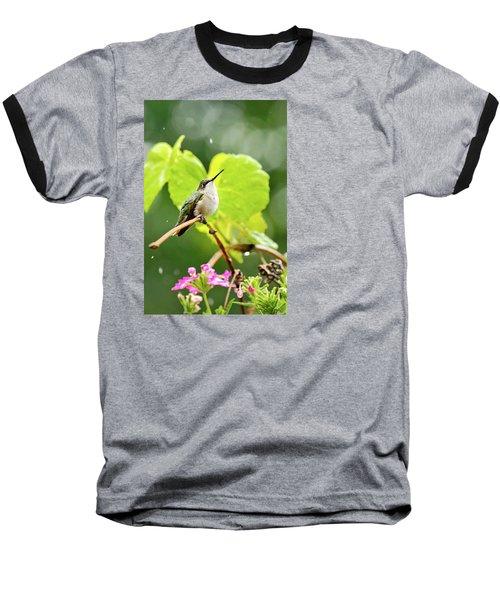 Hummingbird On Vine In The Rain Baseball T-Shirt