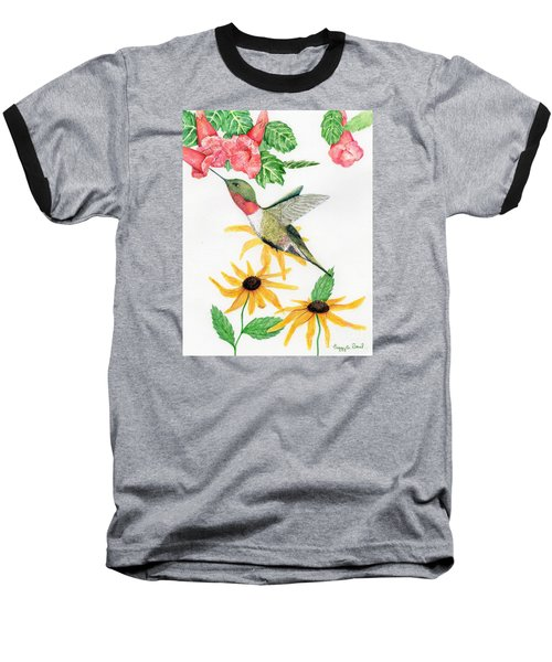 Baseball T-Shirt featuring the painting Hummingbird by Peggy A Borel