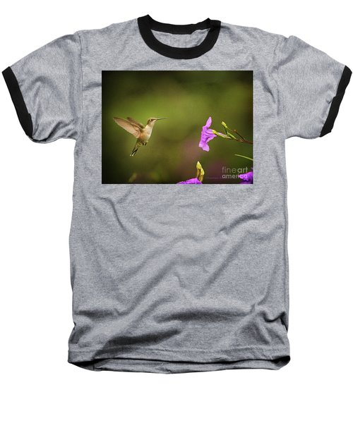 Hummingbird Pink Flower Baseball T-Shirt