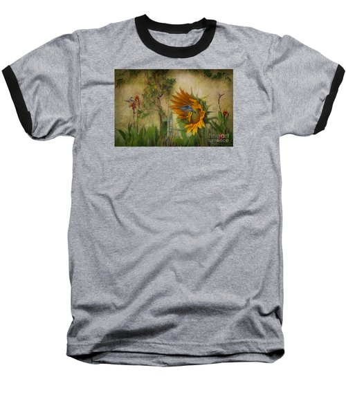 Hummingbirds In My Garden Baseball T-Shirt by John  Kolenberg