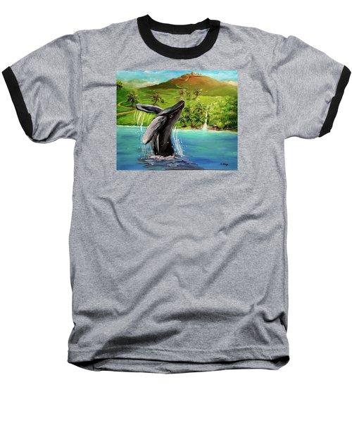 Humpback Whale Breaching At Haleakala Hawaii Baseball T-Shirt