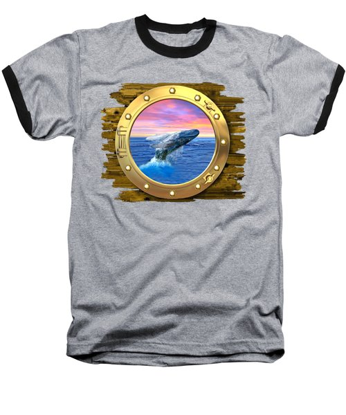 Humpback Whale Breaching At Sunset Baseball T-Shirt by Glenn Holbrook