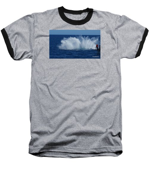 Humpback Whale Breaching Close To Boat 23 Image 3 Of 4 Baseball T-Shirt
