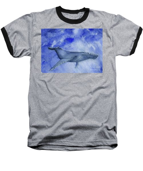 Humpback Yearling Under Our Boat Baseball T-Shirt by Randy Sprout