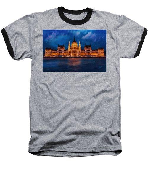 Hungarian Parliament At Night Baseball T-Shirt